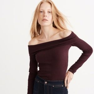 Abercrombie & Fitch Ribbed Off The Shoulder Top